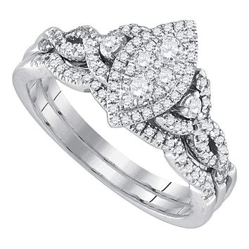 14k White Gold Round Diamond Marquise-shape Cluster Women's Wedding Bridal Ring Set 1/2 Cttw - FREE Shipping (US/CAN)