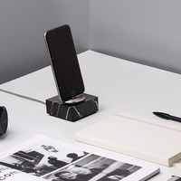 Native Union DOCK+ for iPhone or iPad Marble Edition - Genuine Marble Charging Dock with Reinforced Lightning Cable - Compatible with Most Apple Lightning Devices (Black)