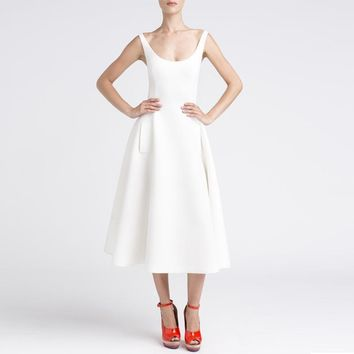 White Hepburn Retro Midi Dress Women Sleeveless A Line Pleated Dress With Pockets