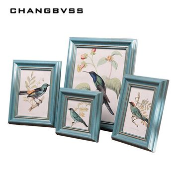 1 PC 4 Colours Wooden Picture Frame Wall,Photo Frame Desktop Decorations,Vintage Style Photo Frames,Family Picture Frames