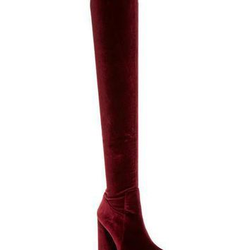 Perouze 2 Crushed Velvet Over-the-Knee Boot Size 7