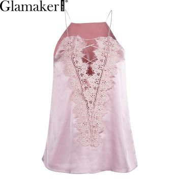Glamaker Casual summer lace up cami women Reversible cami lace topSexy satin adjustable strap lining camisole tank top female
