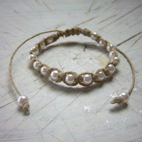 Natural Hemp Adjustable Bracelet with Pink Glass Pearls