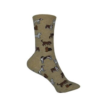 Classic Dogs Crew Socks in Hemp Heather