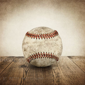 Vintage Single Baseball On Wood Phot Print ,Decorating Ideas, Wa