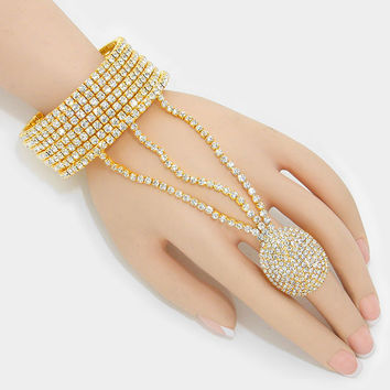 """ All the Bling""  Rhinestone Bracelet Pave Crystal Ring Combo On Gold Tone"