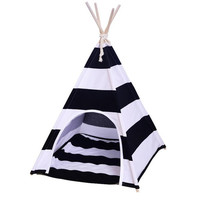 Bold and Modern Black and White Striped Cat Teepee With Matching Cushion