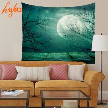 Hyha 130x150cm Moonlit Night Tapestry 100% Polyester Wolf Elephant Starry The wolf's Tai Chi Abstract Decoration Wall Hanging