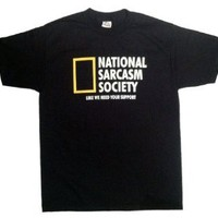 National Sarcasm Society Funny Men's T-shirt, Small [Apparel] [Apparel]