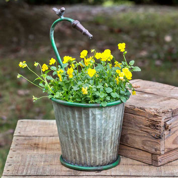Corrugated Metal Garden Hose Tapered Planter