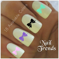 Bows Nail Decal. 20 Vinyl Stickers Nail Art
