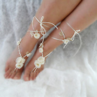 bridal anklet Ivory flower Beach wedding barefoot by WEDDINGHome