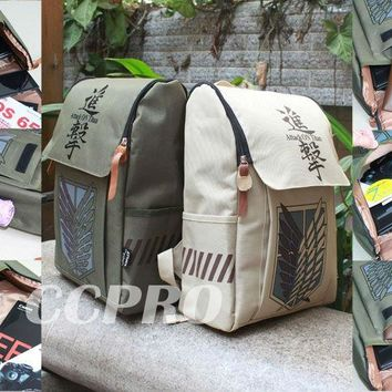 Cool Attack on Titan 3-color /SNK nylon backpack/double-shoulder bag w/ laptop sleeve! AT_90_11