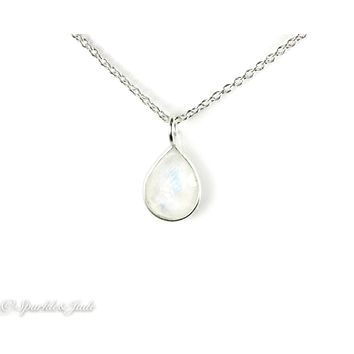 "Sterling Silver Rainbow Moonstone Petite Pear Teardrop 16""  Necklace S&J"
