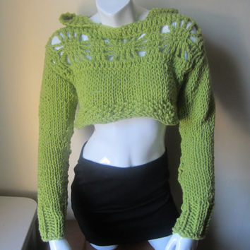 Cropped sweater, Hoodie, cropped sweater with elven hood,  cropped top, shrug, womens sweater, boho ,  crochet sweater, knit sweater