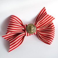 Red and White Ribbon bow brooch and hair pin with a vintage button with by pardes
