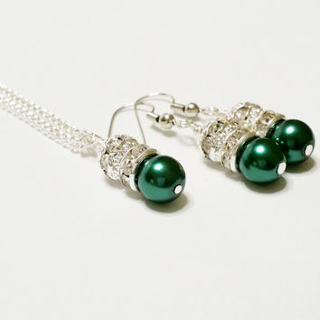 Bridesmaid Gift / Green Pearl Necklace Set / Bridesmaid Jewelry Set / Rhinestone Necklace / Bridal Necklace and Earring Set
