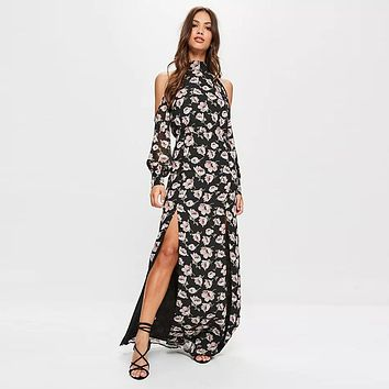 Elegant Temperament Flower Print Strapless Long Sleeve Split Maxi Dress