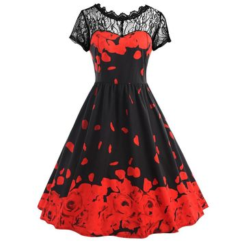 Womens Flowers Printing Lace Short Sleeve Party Dress Vintage Lace Dress