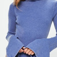 Missguided - Blue Washed Ribbed Flared Sleeve Bodysuit