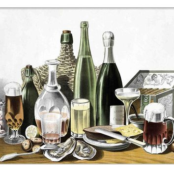 Dinner Table Kitchen Picture on Canvas Hung on Copper Rod, Ready to Hang, Wall Art Décor