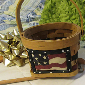 Unique Patriotic USA Red White and Blue Woven Basket-Flower Girl Basket-Wedding-Trinket-Gift-Storage-Material Flag-Bling Accents-Home Decor