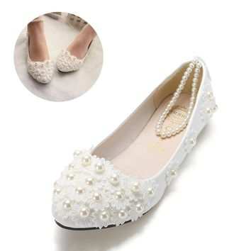 Women's  Elegant White Lace Wedding Flats w/ Pearls Ankle Strap  - Free Shipping
