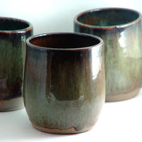 "Pair: Sage green & brown 10 ounce oz Tumblers / Wine Glasses / Tea Cup Bowls / Handleless Mugs, ""Forest Haze"", Handmade Wheel Thrown ceramic"