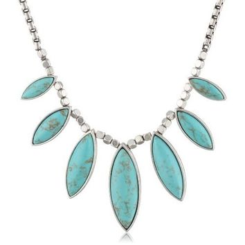 Lucky Brand Turquoise Set Stone Collar Necklace, 18""