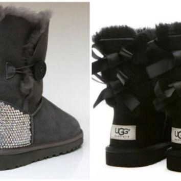 ICIK8X2 Swarovski Crystal Embellished Bailey Bow Uggs in Black