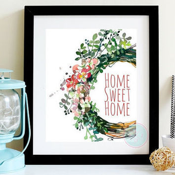 Watercolour Home Decor Home Sweet Home  Floral Wreath Instant Digital Art Floral Nursery Flower Wall Botanical Floral Wreath Poster