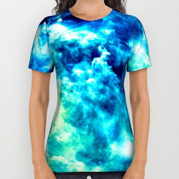 stormy nebula clouds turquoise blue All Over Print Shirt by GalaxyDreams