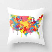 Patriotic USA Map Throw Pillow by ArtisanObscure Prints