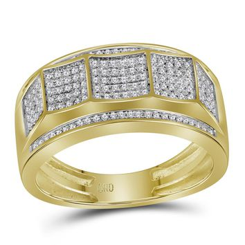 10kt Yellow Gold Mens Round Pave-set Diamond Faceted Cluster Band Ring 1/3 Cttw