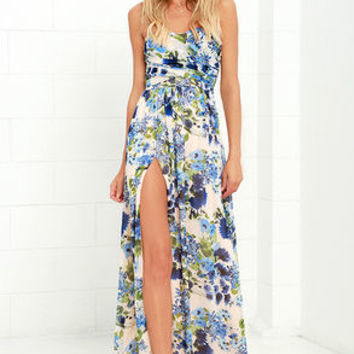 Sweet Symphony Blue Floral Print Strapless Maxi Dress