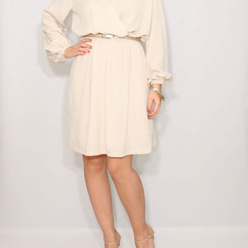 Beige dress Long sleeve Short dress Chiffon dress Prom dress