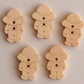 Set of 5 Country Boy Wooden Buttons, Approx 2 cm Diameter, Lasercut