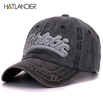 Hatlander vintage cotton washed baseball caps men casual sports hats gorras women 3D embroidery letter curved dad hat cap unisex