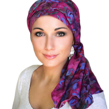 Raspberry Floral Turban, Head Wrap, Alopecia Scarf, Chemo Hat & Scarf Set