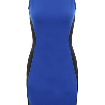 Blue And Black Sleeveless Bodycon Midi Dress
