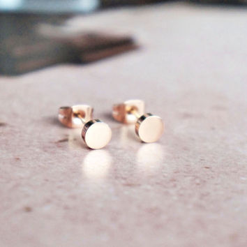 mini round stud earrings - rose gold titanium