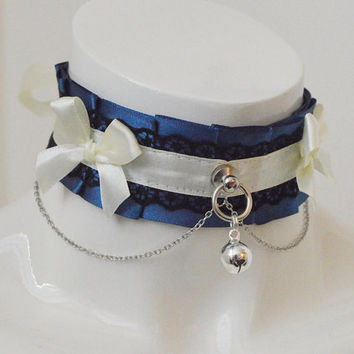 Kitten play collar - Midnight dream - pleated collar - dark victorian lolita kittenplay ddlg cgl goth princess petplay collar with bell