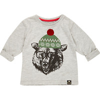 River Island Mini boys grey Christmas polar bear t-shirt