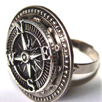 Steampunk Compass Ring Adjestable Band Silver Tone Metal Compass Clock Gears Women Fun Fashion