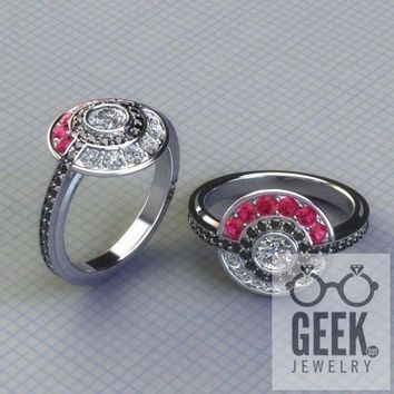 Poke Engagement Ring with Real Gems!