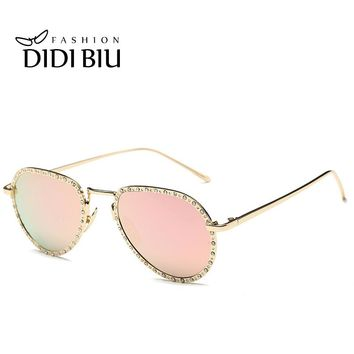 Italian Gold Rhinestones Sunglasses Women Diamonds Steampunk Flat Clear Lens White Optical Frame Baroque Pink Shades Gafas H719