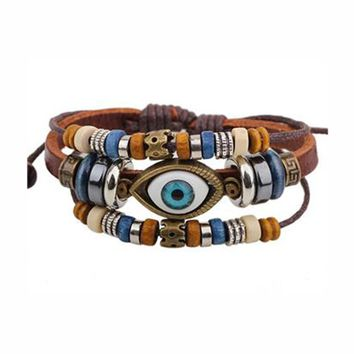 Punk Design Turkish Evil Eye Bracelets Ethnic Vintage Jewelry For Women Men Bijouterie Wristband Female Bracelet