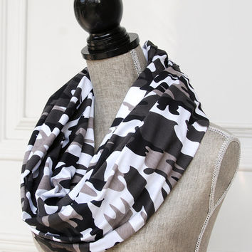 Camo Infinity Scarf - Jersey Knit Cotton Taupe Brown Camoflage Circle Scarf - Loop Scarf