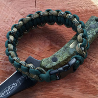 Camo and Hunter Green Paracord Survival Bracelet
