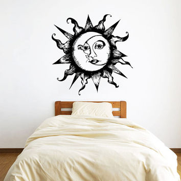 Wall Decal Vinyl Sticker Decals Art Home Decor Design Mural Sun Moon Crescent Dual Ethnic Stars Night Symbol Sunshine Fashion Bedroom AN87